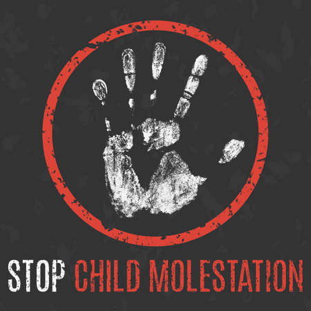 Conceptual vector illustration. Social problems of humanity. Stop child molestation sign.