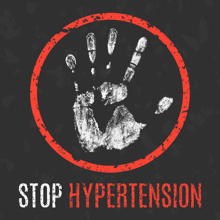 Conceptual vector illustration. Human diseases. Stop  hypertension.