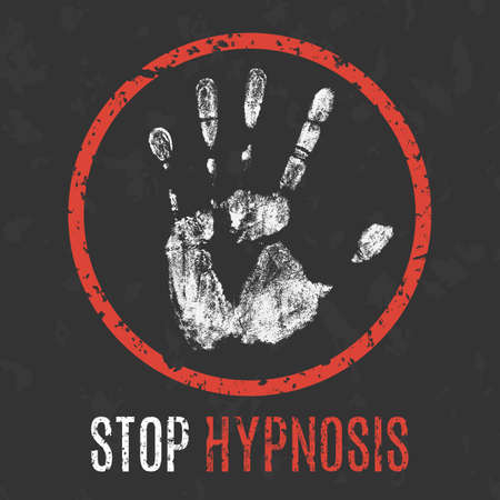 social problems: Conceptual vector illustration. Social problems of humanity. Stop hypnosis sign.