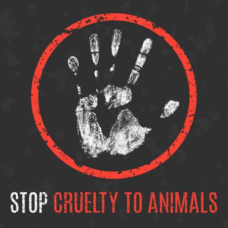 illustrazione vettoriale concettuale. I problemi sociali dell'umanità. Smettere di crudeltà verso gli animali.
