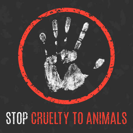 humanity: Conceptual vector illustration. Social problems of humanity. Stop cruelty to animals.