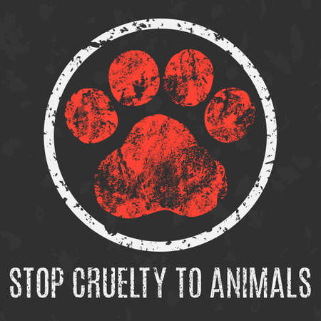 social problems: Conceptual vector illustration. Social problems of humanity. Stop cruelty to animals sign.