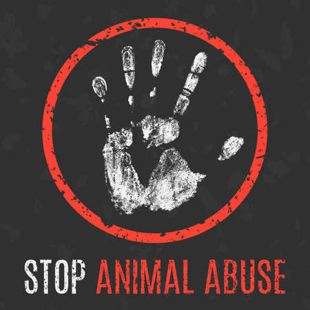 social problems: Conceptual vector illustration. Social problems of humanity. Stop animal abuse.
