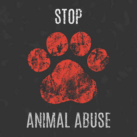 animal cruelty: Conceptual vector illustration. Social problems of humanity. Stop animal abuse.