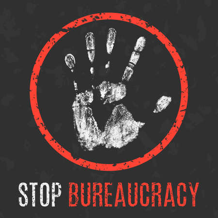 social problems: Conceptual vector illustration. Social problems of humanity. Stop bureaucracy sign. Illustration