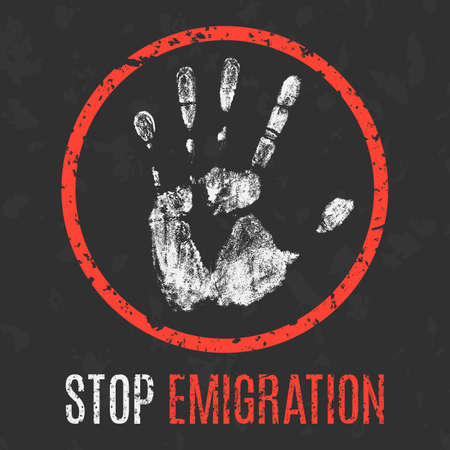 Conceptual vector illustration. Global problems of humanity. Stop emigration. Иллюстрация