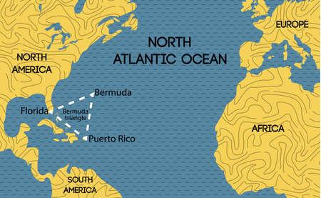 Schematische vector kaart van de Bermuda Driehoek. Stock Illustratie