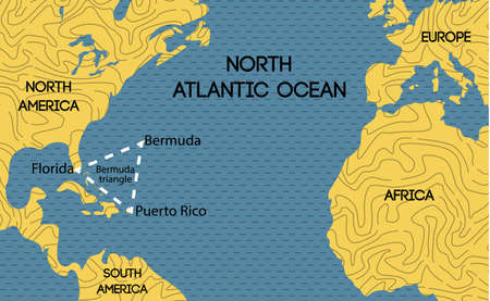 Schematic vector map of the Bermuda Triangle. Illustration