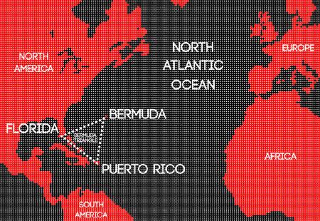 Design schematic vector map of the Bermuda Triangle. 일러스트