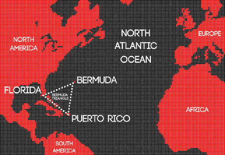 Design schematic vector map of the Bermuda Triangle. Illustration
