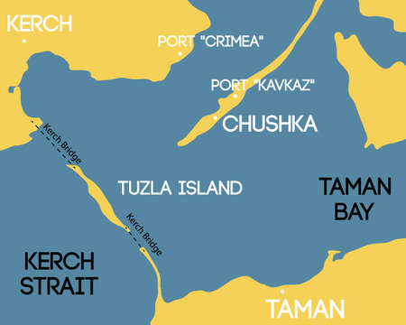 spit: Vector illustration. Bridge to Crimea. Schematic map of Kerch bridge. Illustration