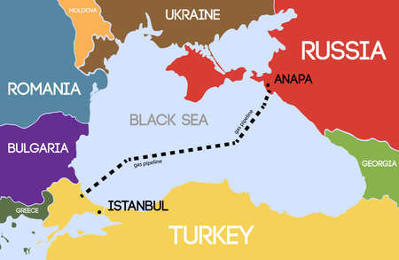 gas pipeline: Vector illustration. Schematic map of the underwater pipeline in the Black Sea. Gas pipeline from Russia to Turkey.
