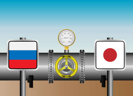 coupling: Vector illustration. The gas pipeline with flags of Russia and Japan.