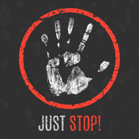 stop piracy: Vector illustration. Handprint and the words just stop!
