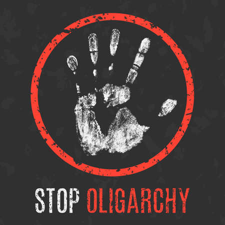 hinder: Conceptual vector illustration. Social problems of humanity. Stop oligarchy sign.