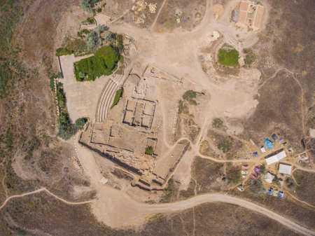 excavations: Aerial view of the archaeological excavations and archaeologist camp.