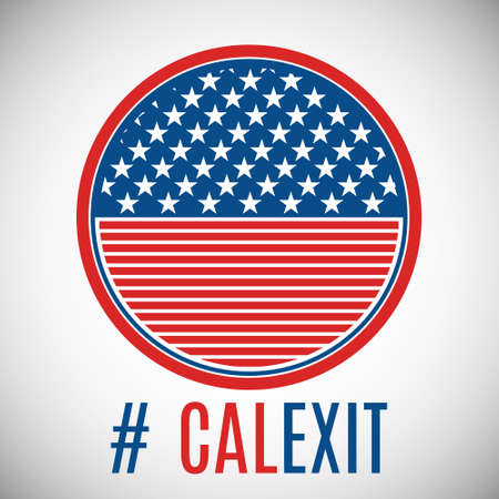 Vector illustration. Hashtag Calexit and USA flag badge.