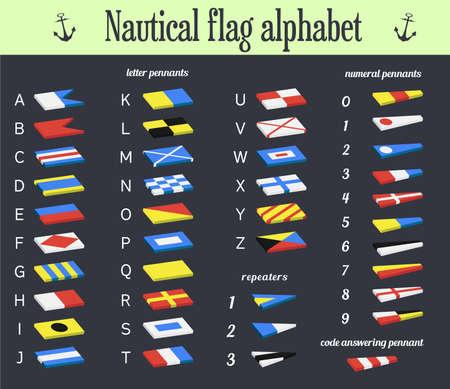 nautical flags: Vector illustration. Set of Nautical flags. Marine alphabet communication system used in sailing. Illustration