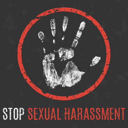Conceptual vector illustration. Social problems of humanity. Stop sexual harassment.