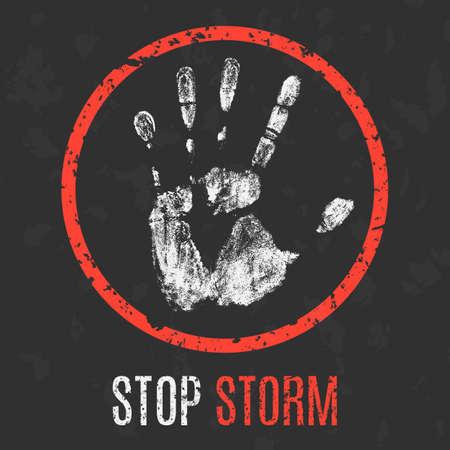 seaway: Conceptual vector illustration. Cataclysms. Stop storm. Illustration
