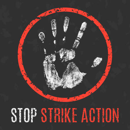 social problems: Conceptual vector illustration. Social problems of humanity. Stop strike action.