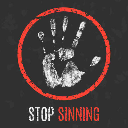 social problems: Conceptual vector illustration. Social problems of humanity. Stop sinning. Illustration