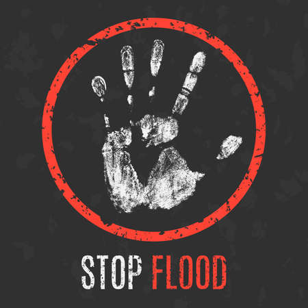 sufferer: Conceptual vector illustration. Cataclysms. Stop flood.