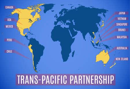 Vector illustratie. Een schematische kaart van het Trans-Pacific Partnership (TPP).