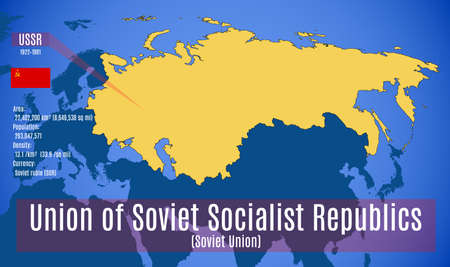 Vector illustration. The schematic map, the flag and the main data of the Soviet Union (USSR).