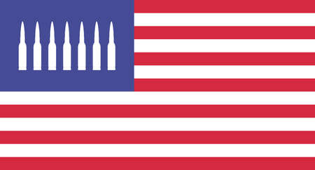 Vector illustration. Creative USA flag with bullets instead of stars.