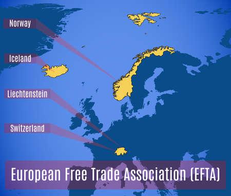 association: Schematic map of the European free trade Association (EFTA). Vector illustration.