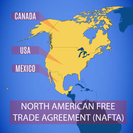 Vector schematic map of the North American Free Trade Agreement (NAFTA).