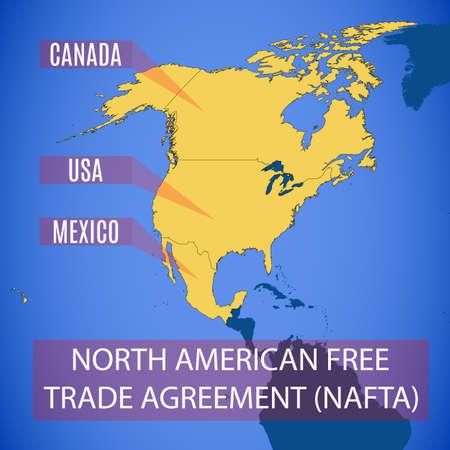 Vector schematische kaart van de Noord-Amerikaanse Vrijhandelsovereenkomst (NAFTA). Stock Illustratie
