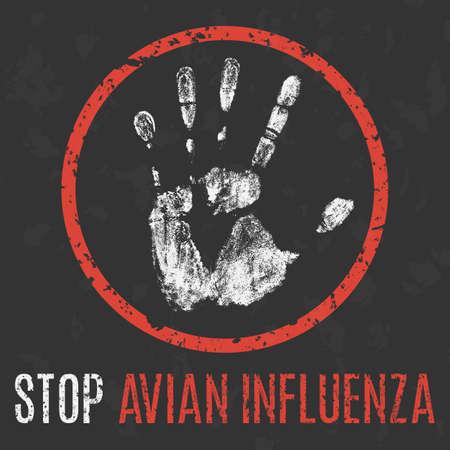 Conceptual vector illustration. Human sickness. Stop avian influenza.