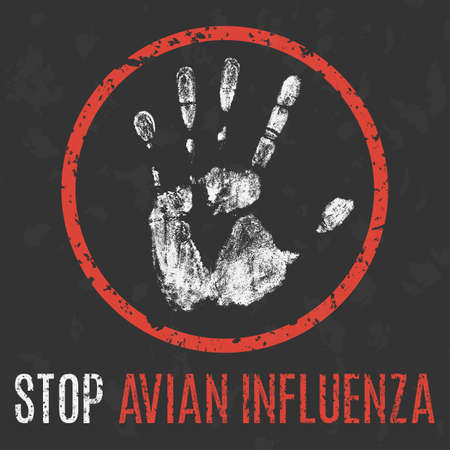 avian flu: Conceptual vector illustration. Human sickness. Stop avian influenza.