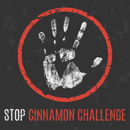 collapsed lung: Conceptual vector illustration. Social problems. Stop cinnamon challenge.