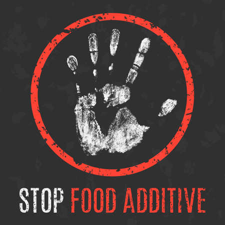 glutamate: Conceptual vector illustration. Global problems of humanity. Stop food additive.
