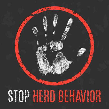 behavior: Conceptual vector illustration. Social problems. Stop herd behavior.