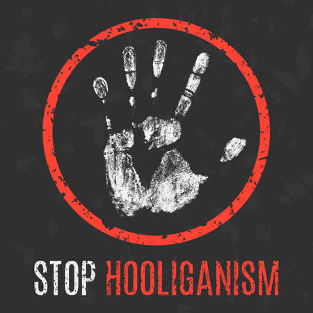 scrimmage: Conceptual vector illustration. Social problems. Stop hooliganism.