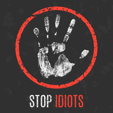 jackass: Conceptual vector illustration. Social problems. Stop idiots. Illustration