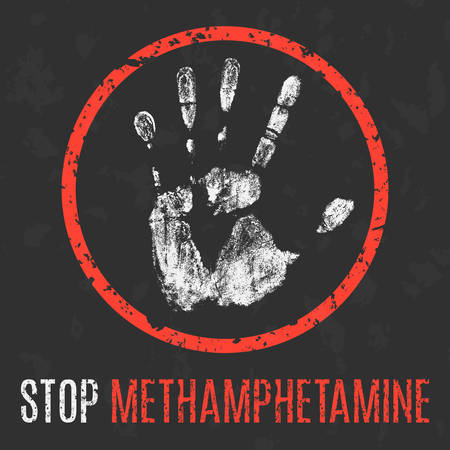 meth: Conceptual vector illustration. Social problems of humanity. Stop methamphetamine.