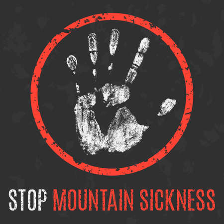 leaks: Conceptual vector illustration. Human diseases. Stop mountain sickness. Illustration