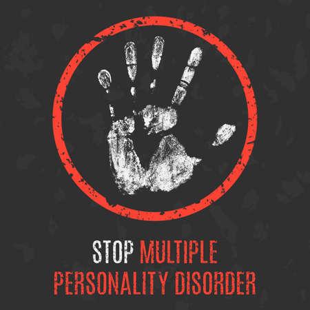 personality: Vector illustration. Human sickness. Stop multiple personality disorder. Illustration