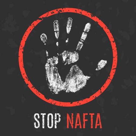 nafta: Conceptual vector illustration. Economic problems.. Stop NAFTA.