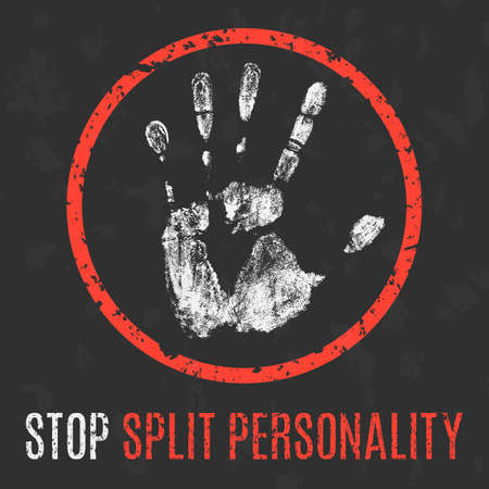 personality: Vector illustration. Human sickness. Stop split personality.