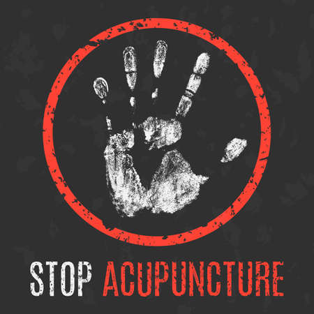 pseudoscience: Vector illustration. Social problems of humanity. Stop acupuncture sign.