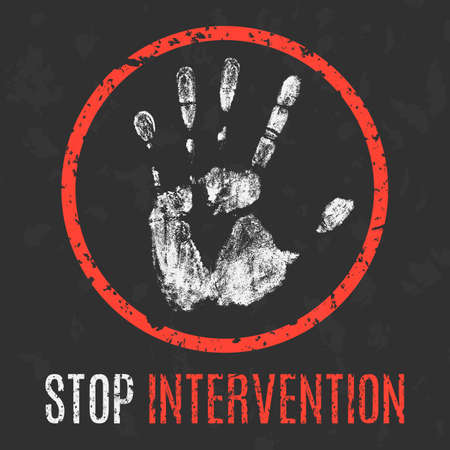 intrude: Conceptual vector illustration. Global problems of humanity. Stop intervention. Illustration