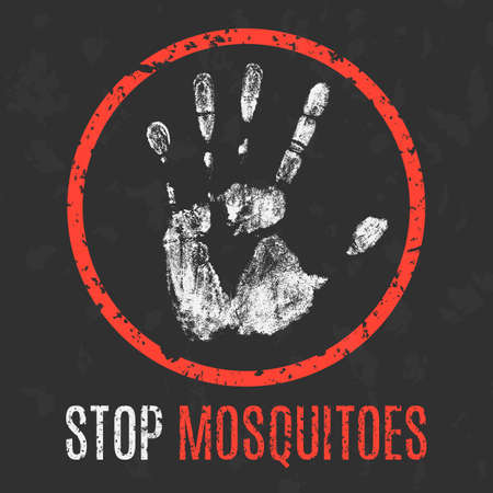 itch: Conceptual vector illustration. Global problems of humanity. Stop mosquitoes. Illustration