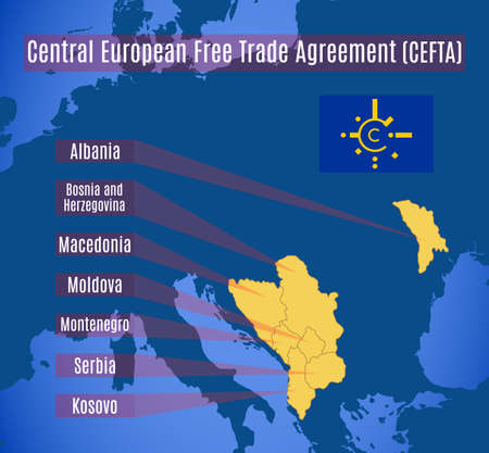 Schematic Map Of The Central European Free Trade Agreement Cefta