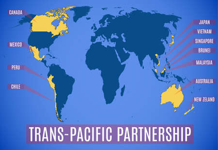 Schematic map of the new Trans-Pacific Partnership after the USA (TPP).